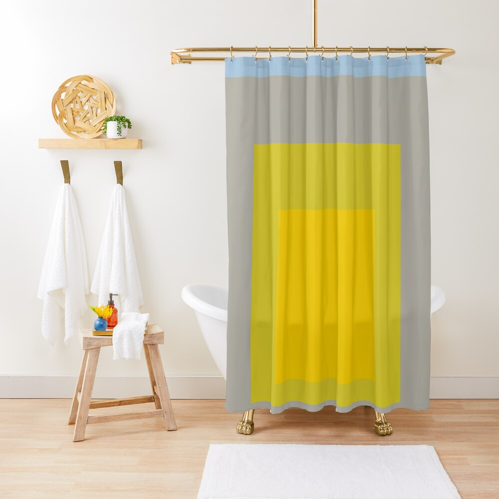 Block Colors - Yellow Green Grey Blue Shower Curtain