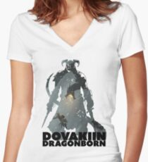Dovakiin/Dragonborn Art Decal Women's Fitted V-Neck T-Shirt