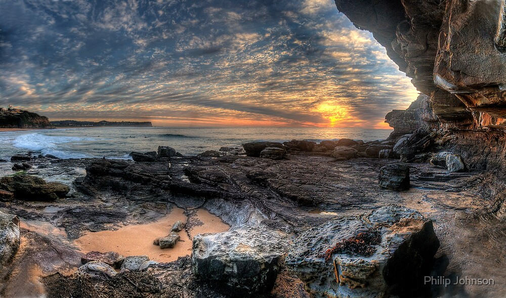 On The Edge - Warriewood Beach Headland, Sydney (35 Exposure HDR Panoramic) The HDR Experience  by Philip Johnson
