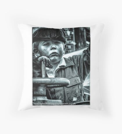 Boy on a traction engine  Throw Pillow