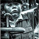 Boy on a traction engine  by bywhacky