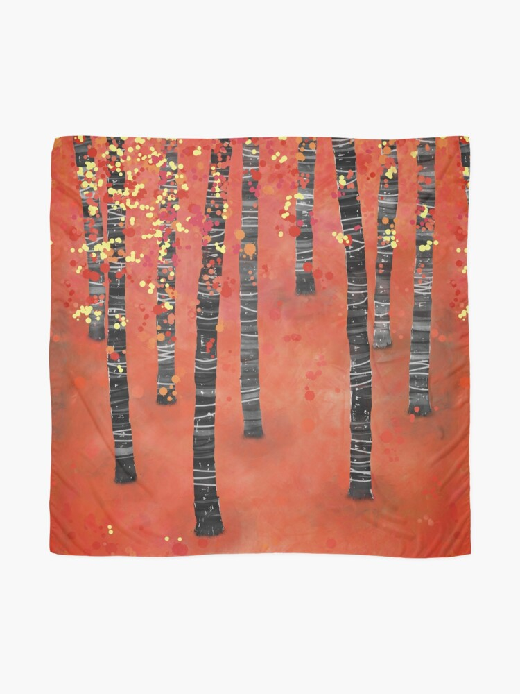 Alternate view of Birches - Autumn Woodland Abstract Landscape Scarf