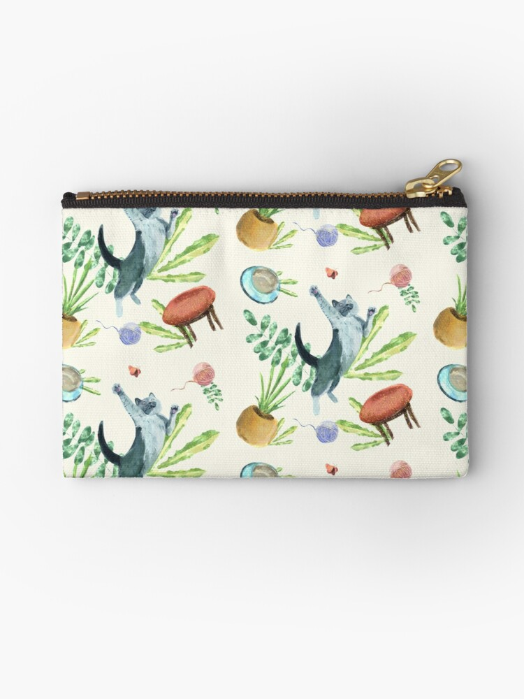 cat and butterfly nursery decor and wall art zipper pouch by mimietrouvetou redbubble