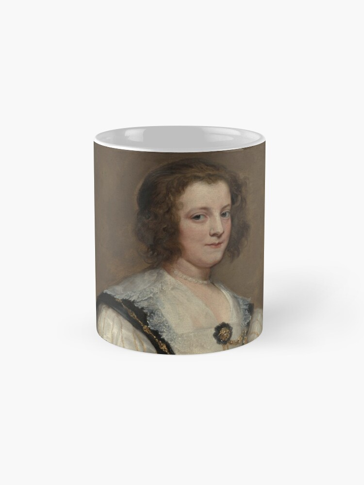 Alternate view of  Lady with a Fan Oil Painting by Sir Anthony van Dyck Mug