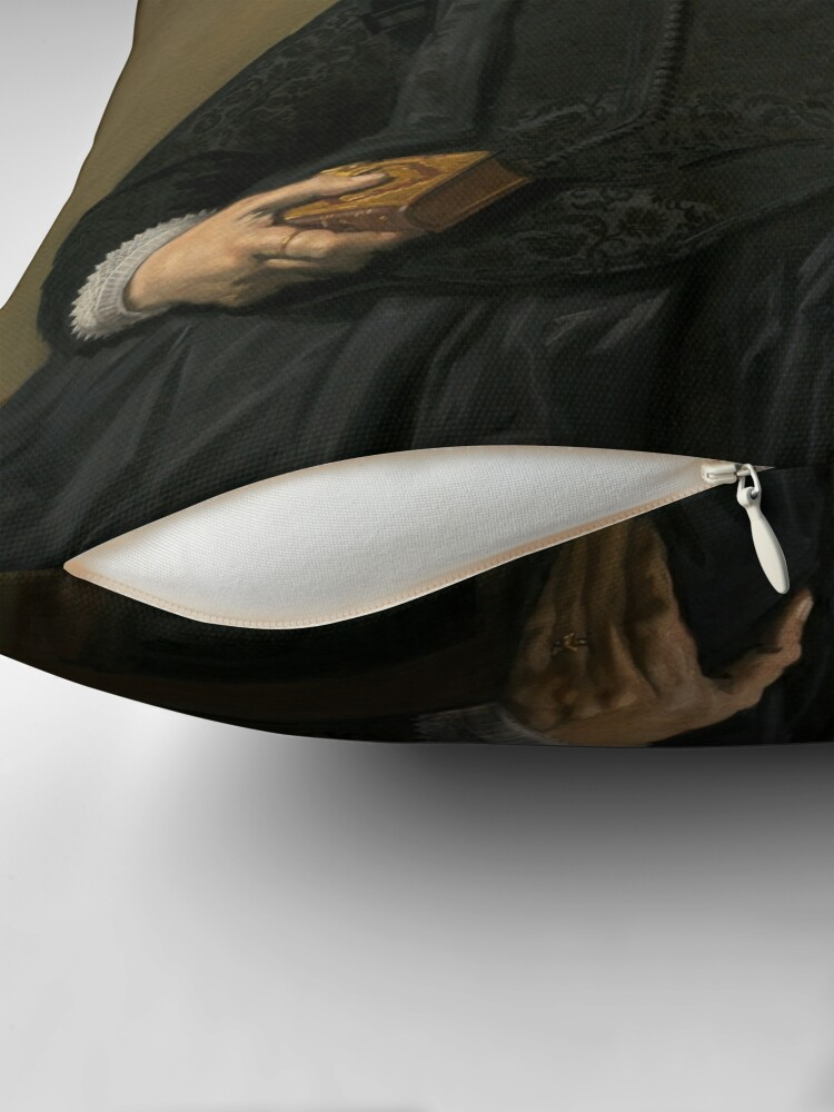 Alternate view of Portrait of an Elderly Oil Painting Lady by Frans Hals Throw Pillow