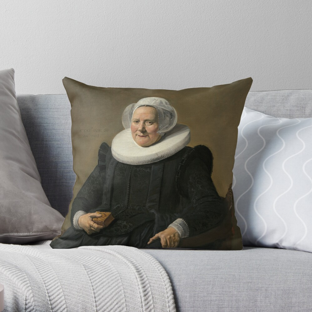 Portrait of an Elderly Oil Painting Lady by Frans Hals Throw Pillow