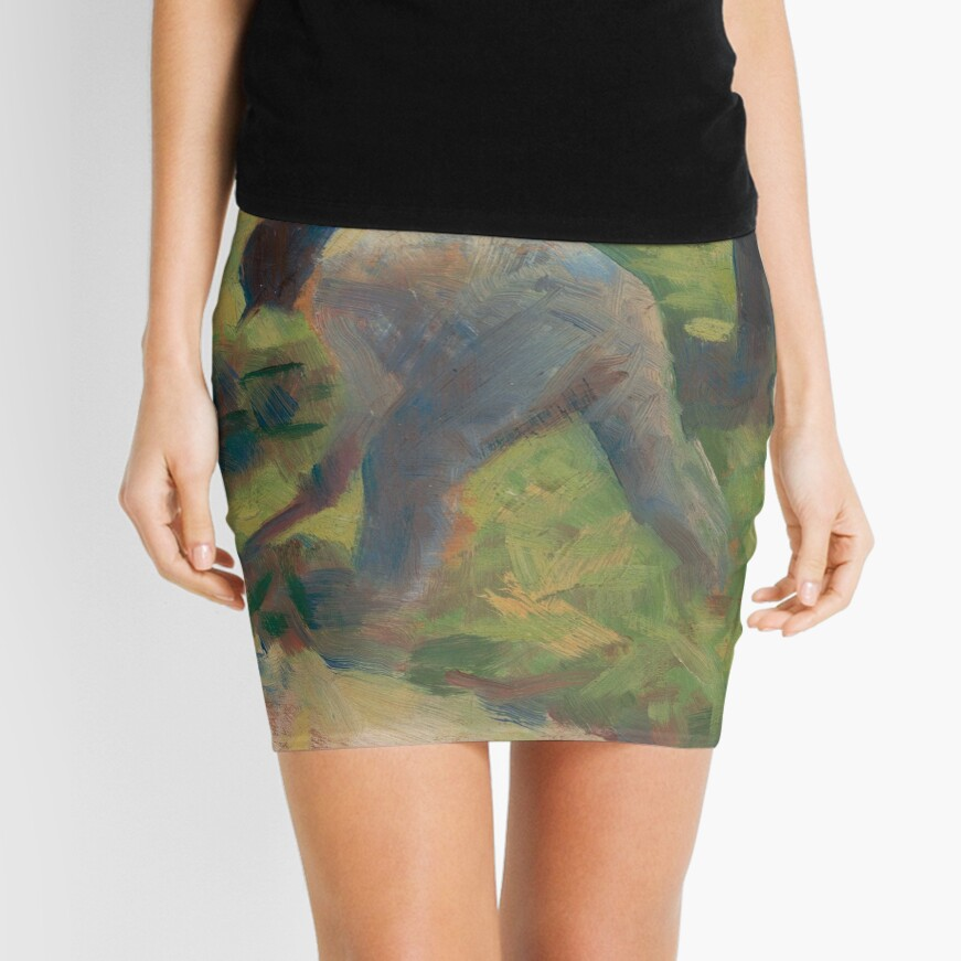 Peasant with a Hoe Oil Painting by Georges Seurat Mini Skirt