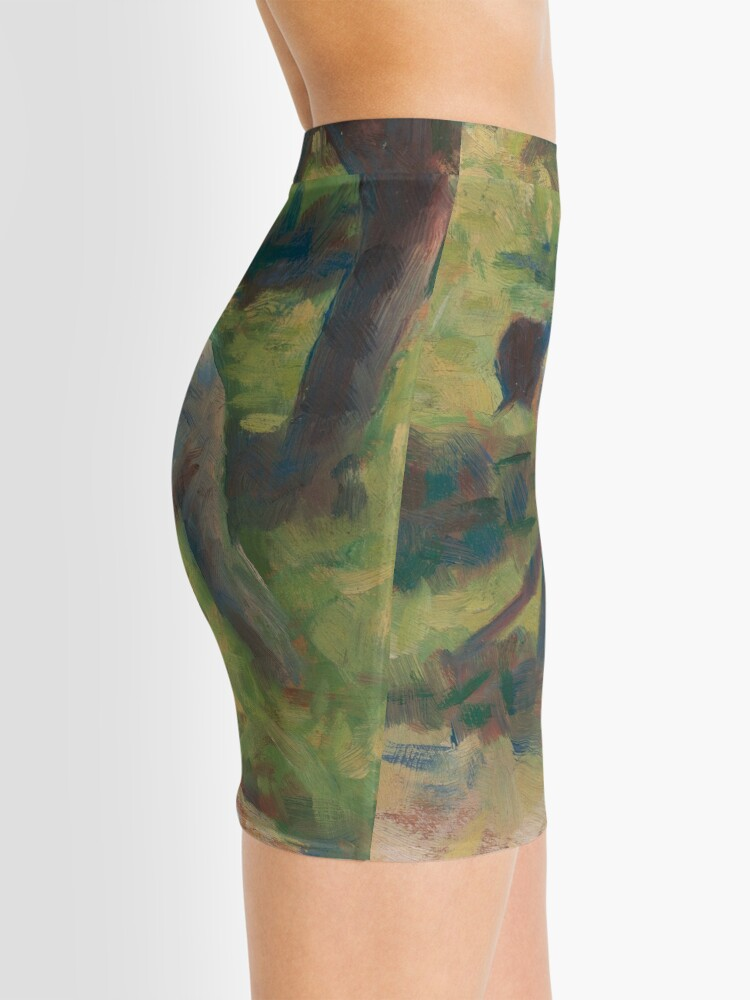 Alternate view of Peasant with a Hoe Oil Painting by Georges Seurat Mini Skirt