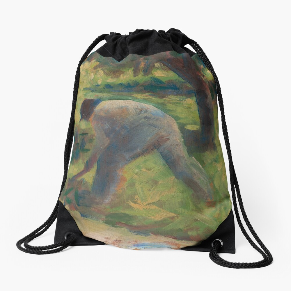 Peasant with a Hoe Oil Painting by Georges Seurat Drawstring Bag