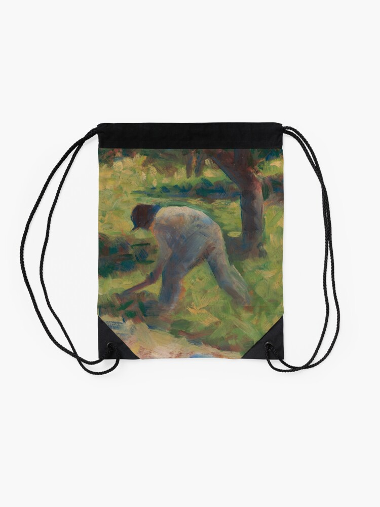 Alternate view of Peasant with a Hoe Oil Painting by Georges Seurat Drawstring Bag