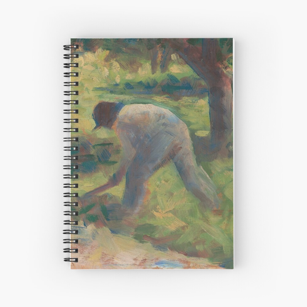 Peasant with a Hoe Oil Painting by Georges Seurat Spiral Notebook