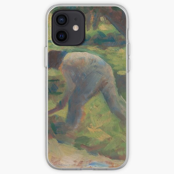 Peasant with a Hoe Oil Painting by Georges Seurat iPhone Soft Case