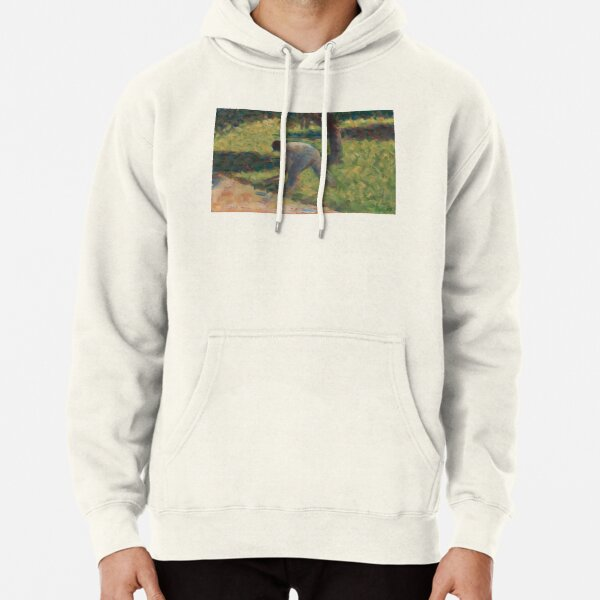 Peasant with a Hoe Oil Painting by Georges Seurat Pullover Hoodie
