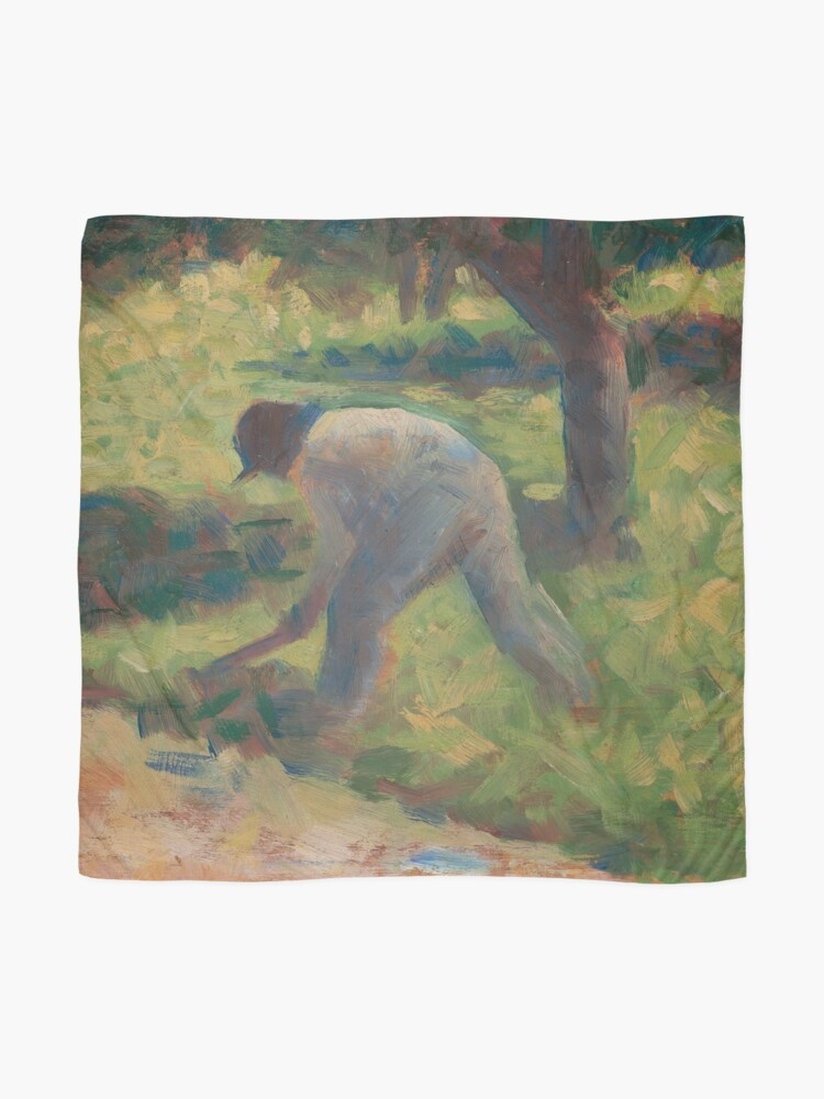 Alternate view of Peasant with a Hoe Oil Painting by Georges Seurat Scarf