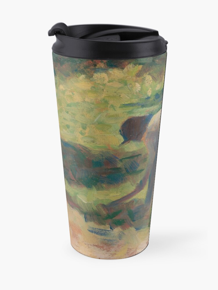 Alternate view of Peasant with a Hoe Oil Painting by Georges Seurat Travel Mug