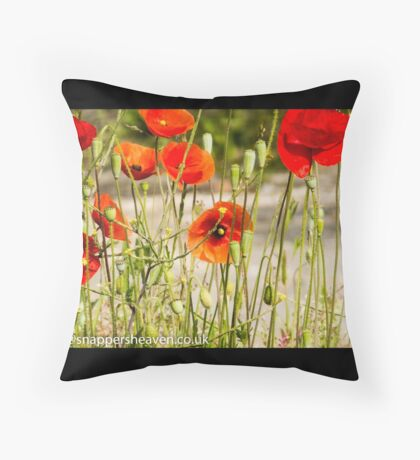 Wild poppies from the meadow flowers bywhacky  Throw Pillow