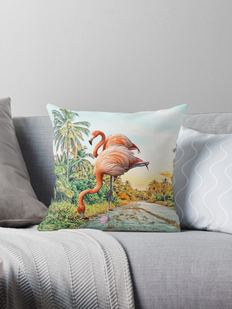 Flamingo Vacay Photography Surrealism Throw Pillow By 83oranges Redbubble