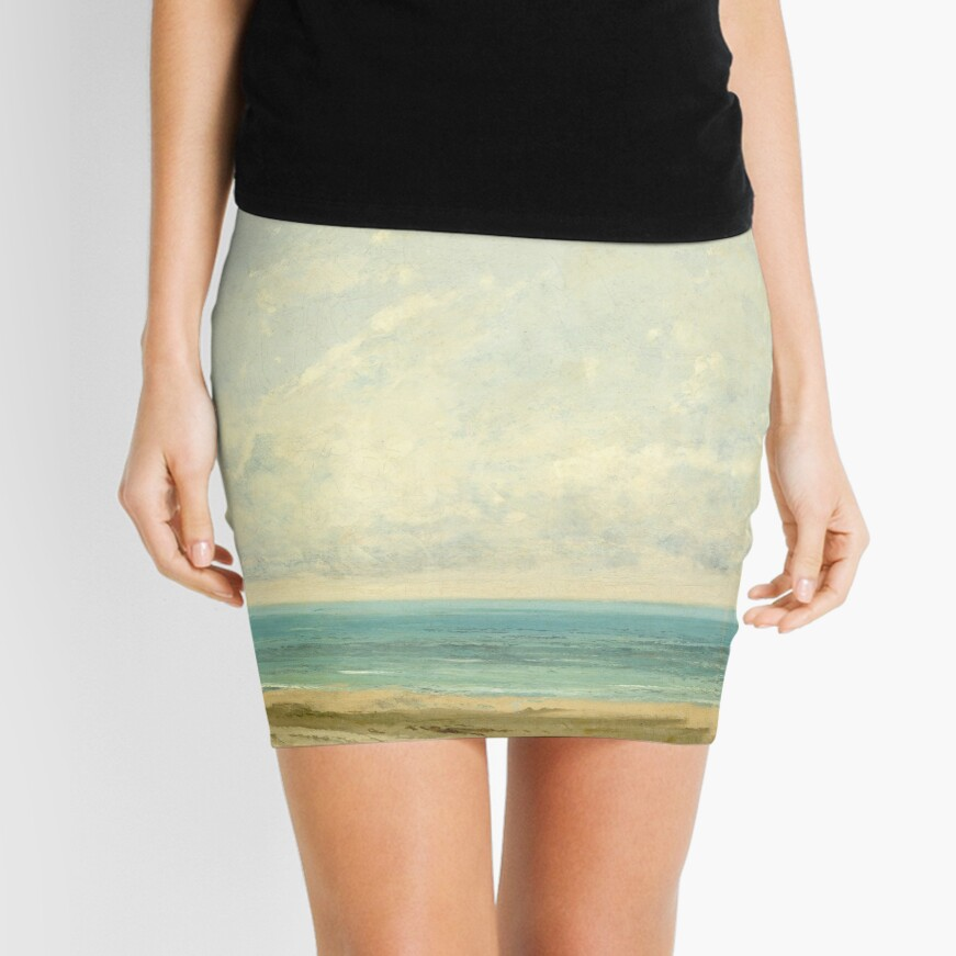 Calm Sea Oil Painting by Gustave Courbet Mini Skirt