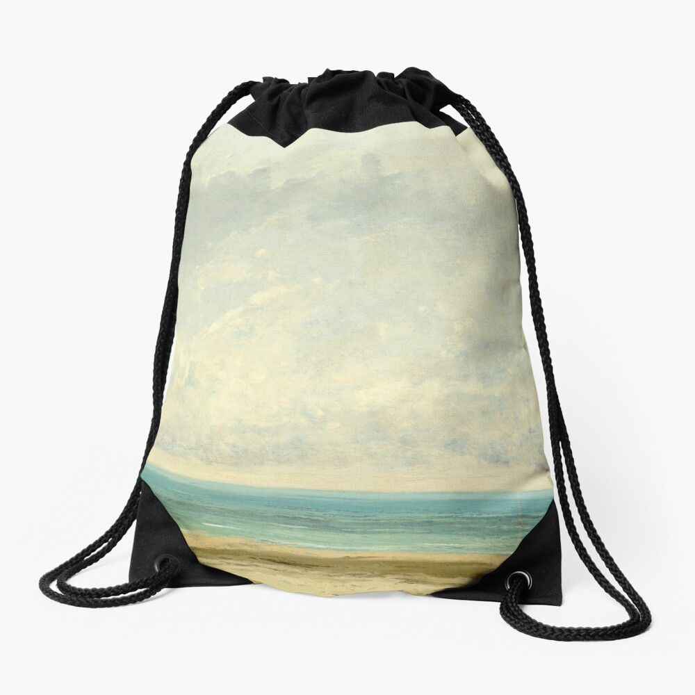 Calm Sea Oil Painting by Gustave Courbet Drawstring Bag