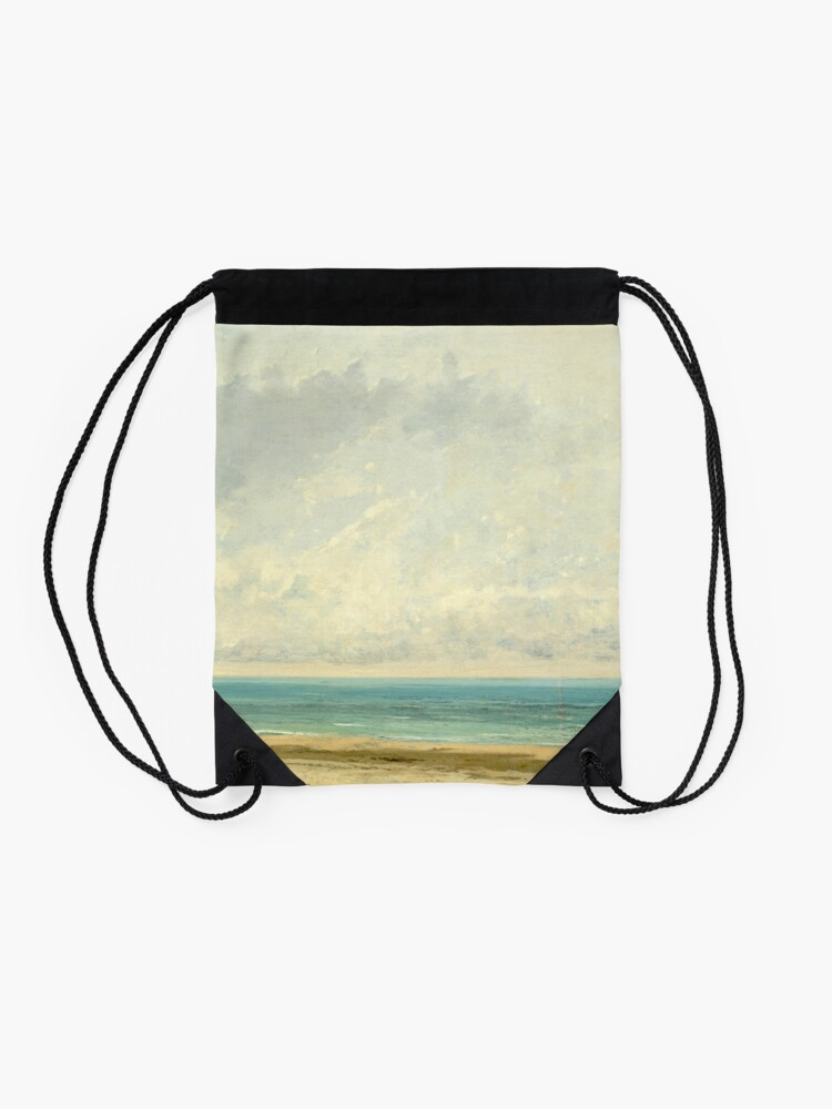 Alternate view of Calm Sea Oil Painting by Gustave Courbet Drawstring Bag