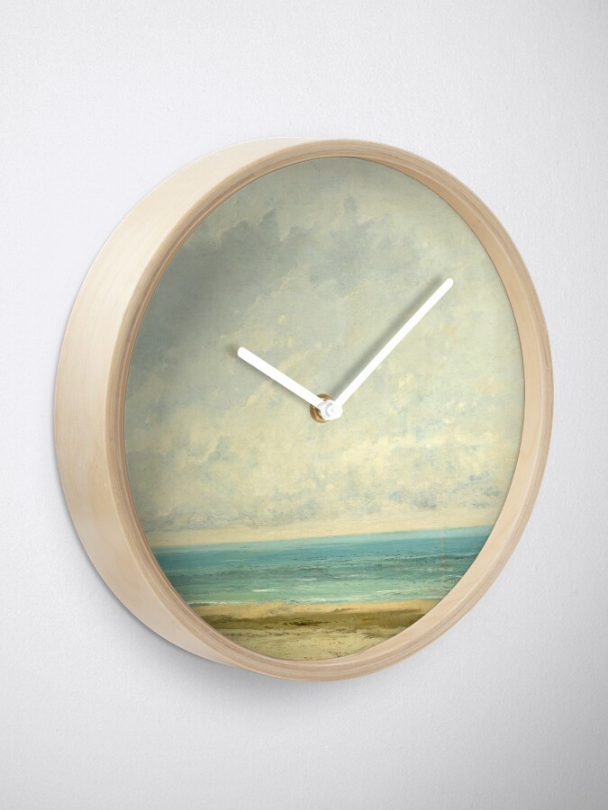 Alternate view of Calm Sea Oil Painting by Gustave Courbet Clock