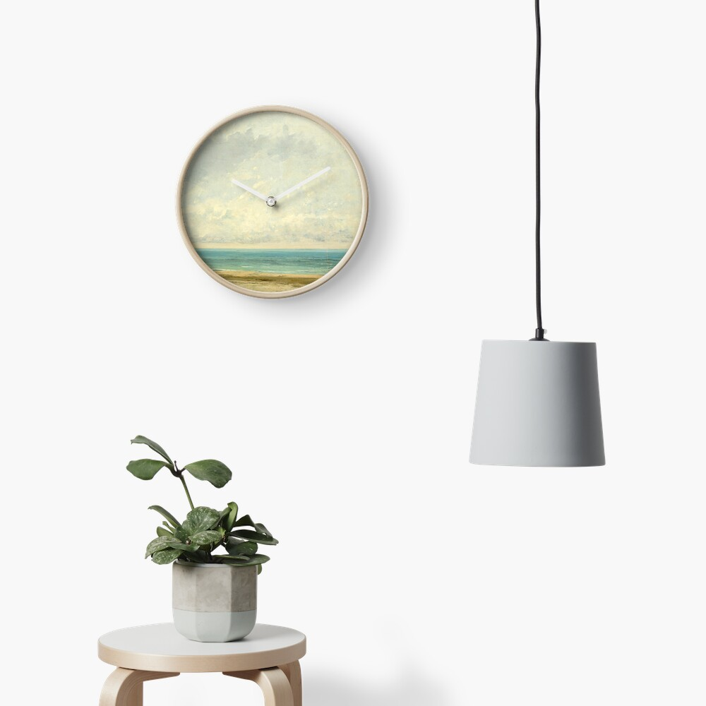Calm Sea Oil Painting by Gustave Courbet Clock