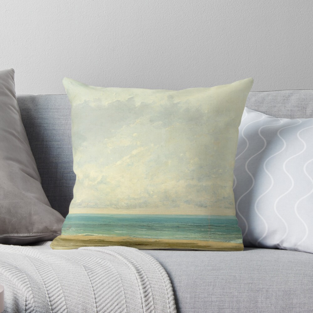 Calm Sea Oil Painting by Gustave Courbet Throw Pillow