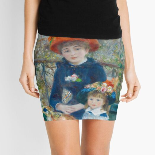 Two Sisters on the Terrace Oil Painting by Auguste Renoir Mini Skirt