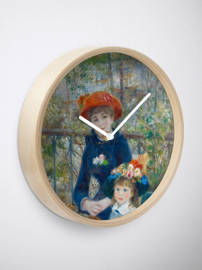 Alternate view of Two Sisters on the Terrace Oil Painting by Auguste Renoir Clock