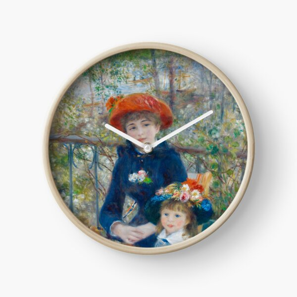 Two Sisters on the Terrace Oil Painting by Auguste Renoir Clock