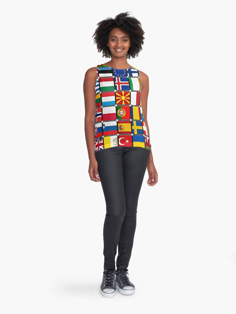 Alternate view of International Flag Collage Sleeveless Top