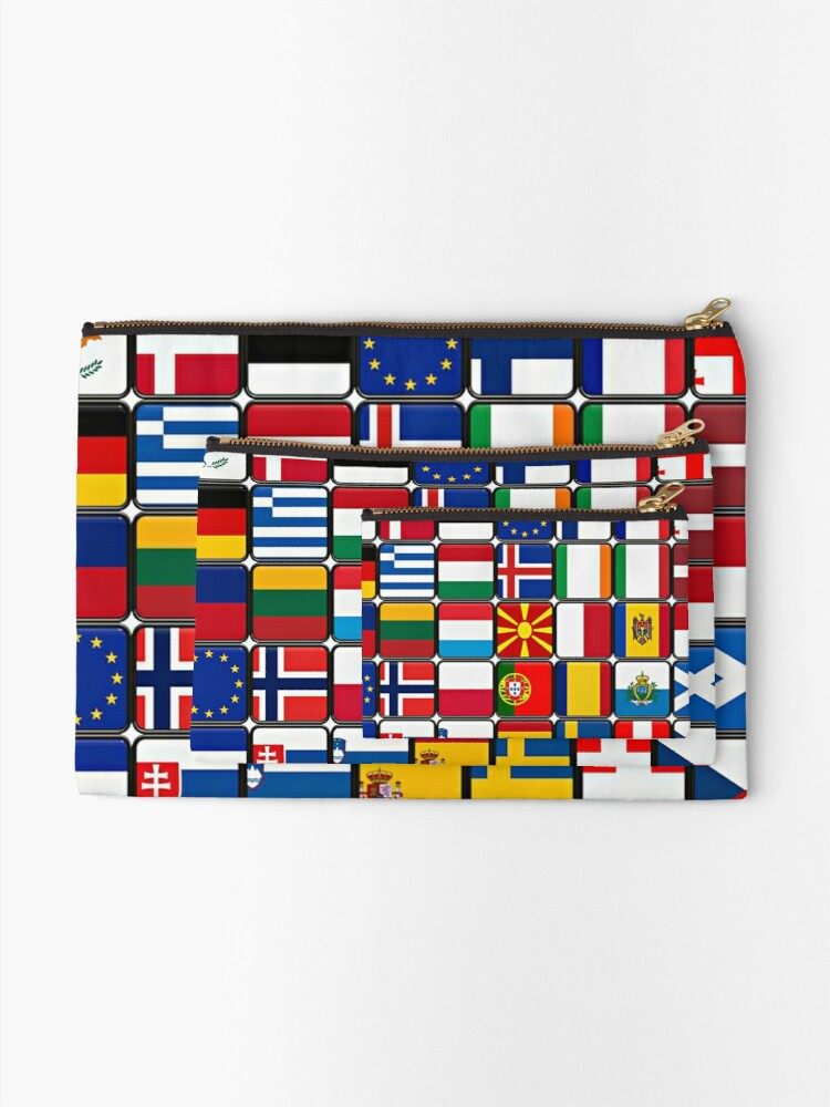 Alternate view of International Flag Collage Zipper Pouch