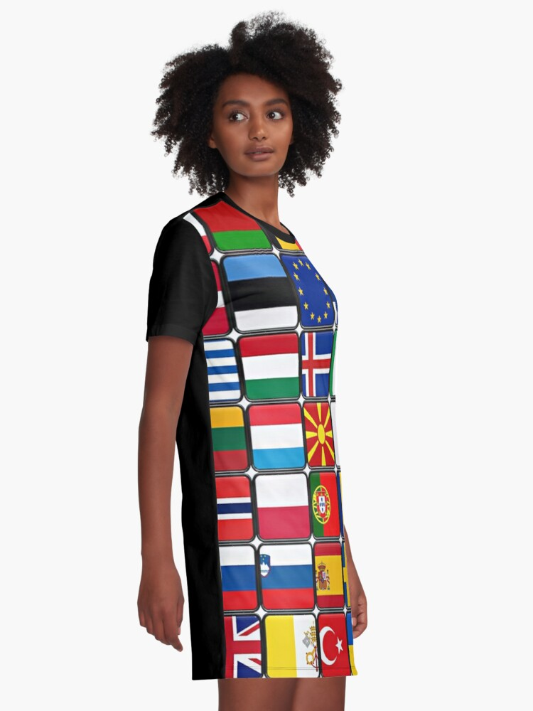 Alternate view of International Flag Collage Graphic T-Shirt Dress