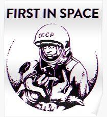 Erste im Weltraum Yuri Gagarin & Laika The Space Dog Poster