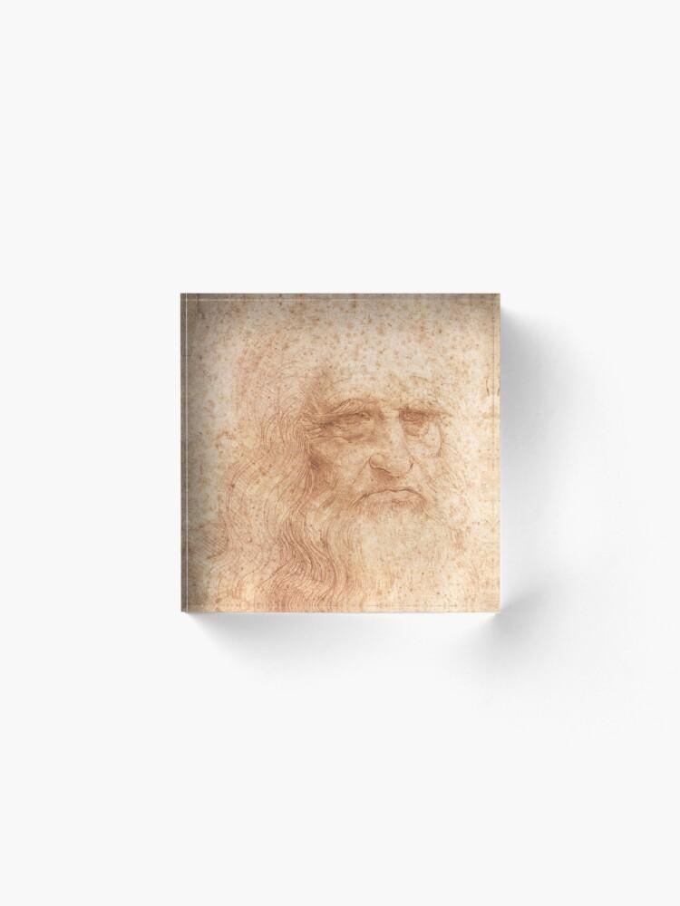 Alternate view of Classic Art - Leonardo da Vinci by Leonardo da Vinci Self Portrait Acrylic Block