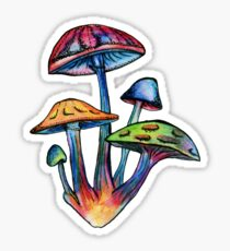 Cluster of Colored Shrooms Sticker