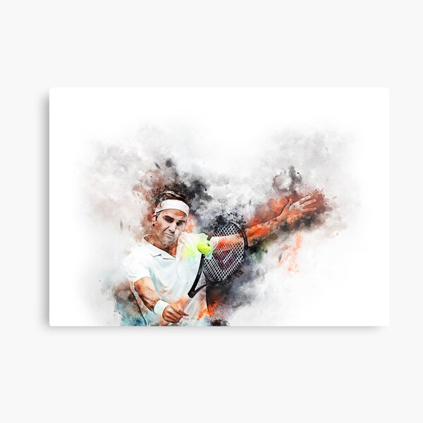 Water  paints of Roger Federer Metal Print