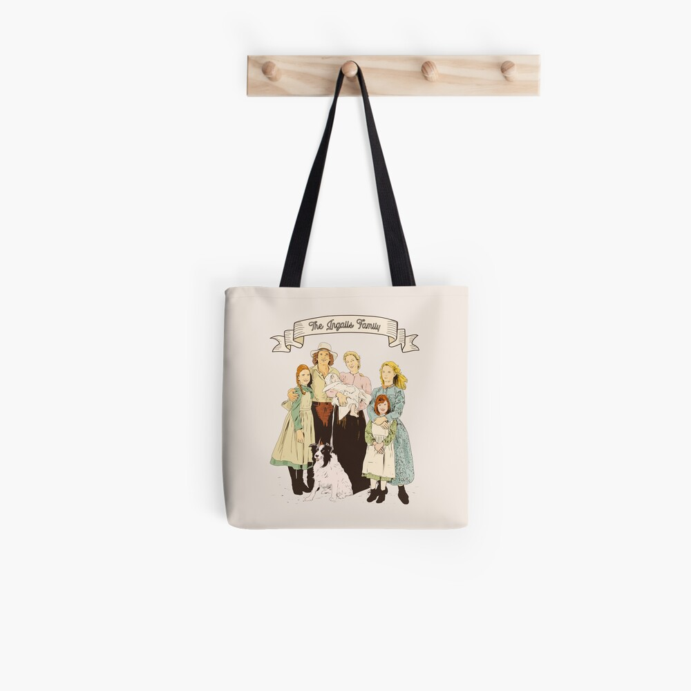 colored The Ingalls family in the Little house on the prairie Tote Bag