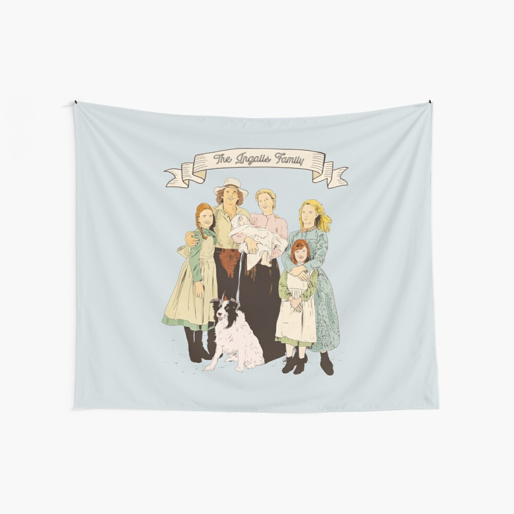colored The Ingalls family in the Little house on the prairie Wall Tapestry