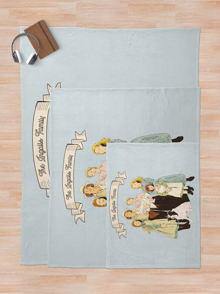 Alternate view of colored The Ingalls family in the Little house on the prairie Throw Blanket