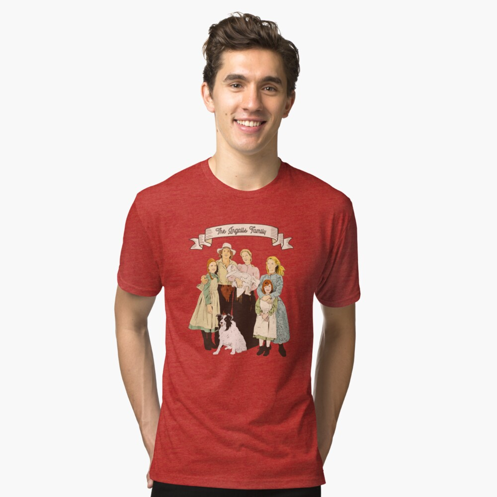 colored The Ingalls family in the Little house on the prairie Tri-blend T-Shirt