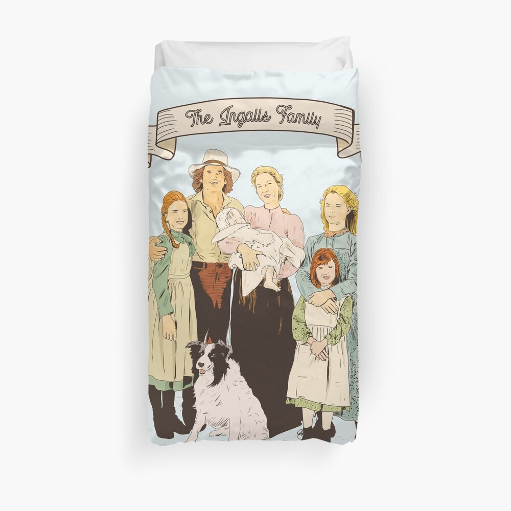 colored The Ingalls family in the Little house on the prairie Duvet Cover