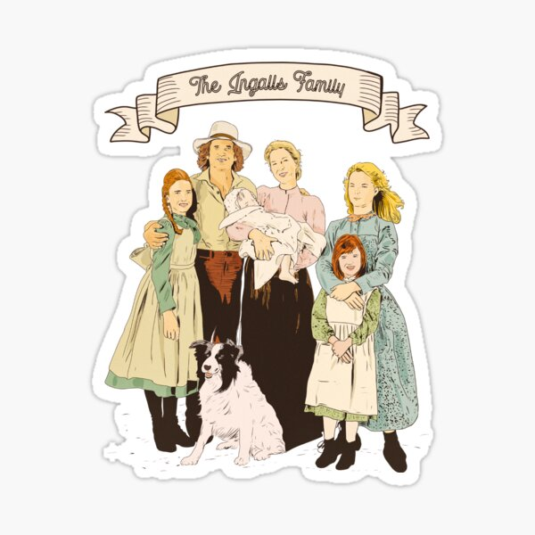 Colorful The Ingalls family in the Little house on the prairie Sticker