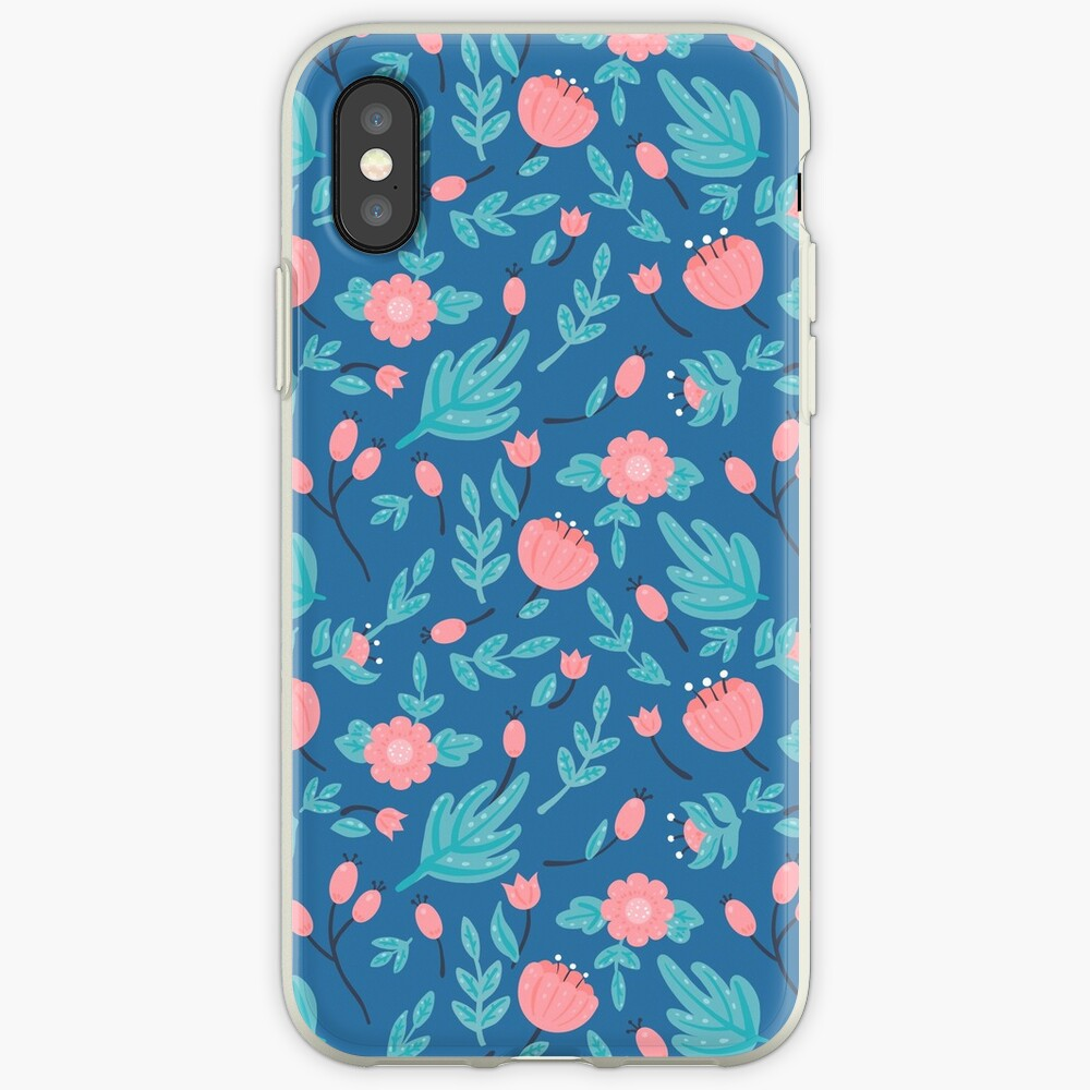 Blue florals iPhone Case & Cover