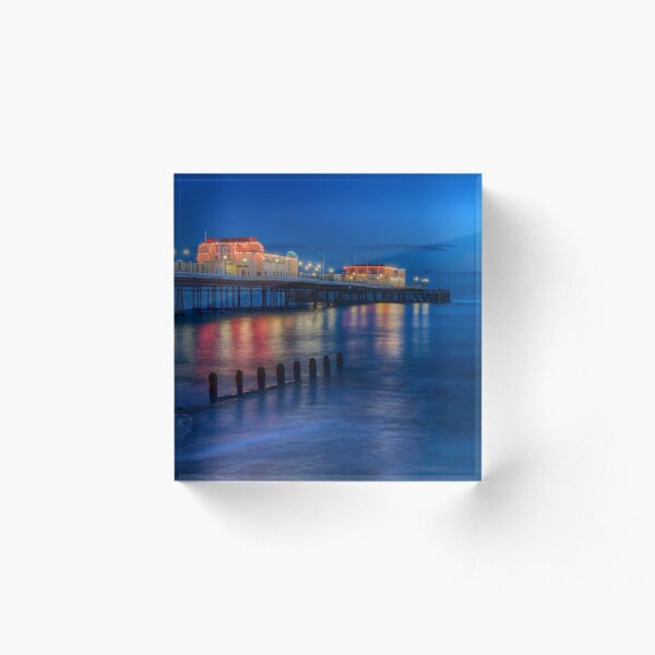 Worthing Pier at Night Acrylic Block