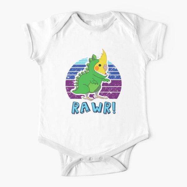 RAWR - Aesthetic Vaporwave Cockatiel Dinosaur  Short Sleeve Baby One-Piece
