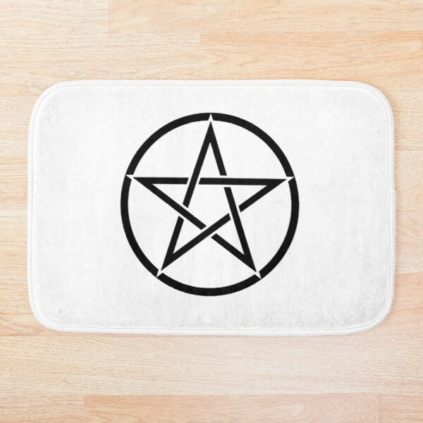 Pentacle. Pentagram, Witch, Wizard, WICCA, Modern, Pagan, Witchcraft, Religion, Cult, Black on White. Bath Mat