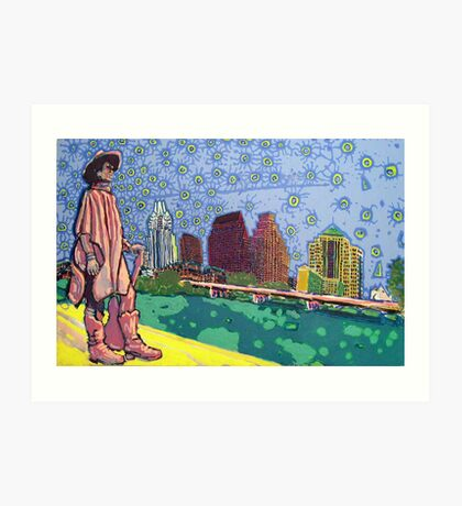 Stevie Ray Vaughan Statue, Austin, Texas Painting Art Print