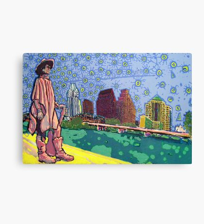 Stevie Ray Vaughan Statue, Austin, Texas Painting Canvas Print
