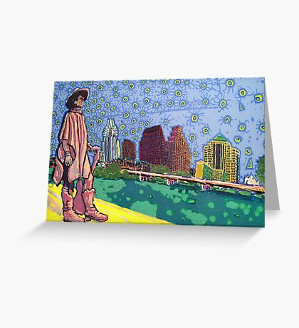 Stevie Ray Vaughan Statue, Austin, Texas Painting Greeting Card